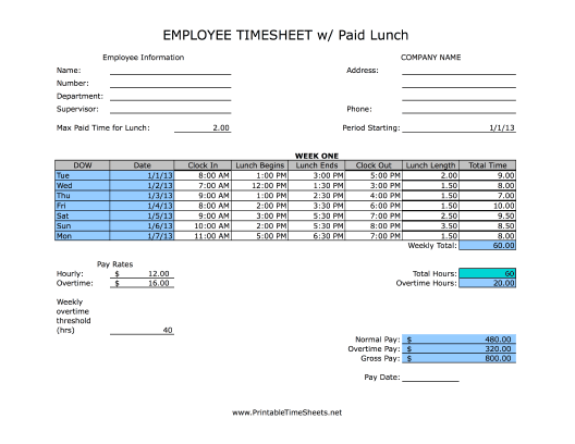 employee lunch schedule template