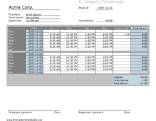 Biweekly Timesheet with comp time calculation Printable Time Sheet