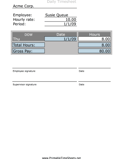 Simple Daily Timesheet