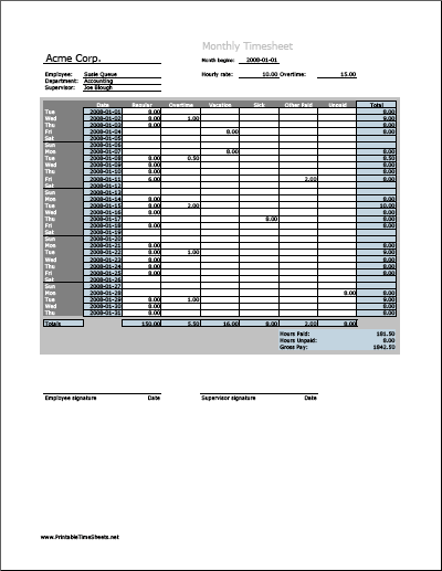 Monthly Timesheet (vertical orientation, work hours entered directly ...