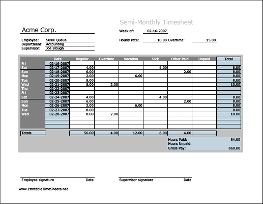 Semi Monthly Timesheet Horizontal Orientation Work Hours