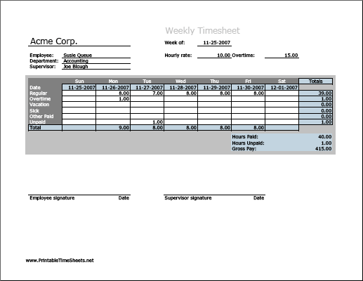 weekly timesheet  vertical orientation  work hours entered
