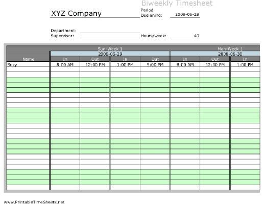 Biweekly Multiple Employee Timesheet Overtime Calculation Work