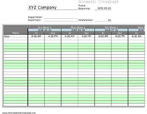 Biweekly multiple employee timesheet with overtime for Multiple employee schedule template