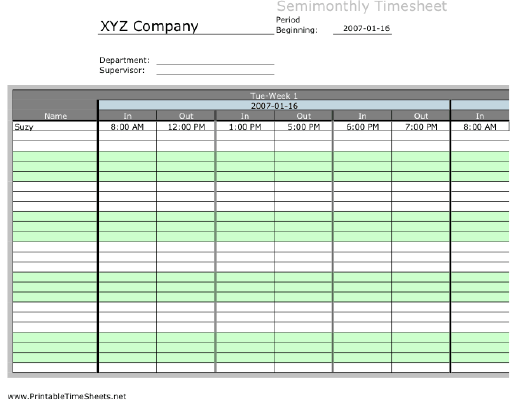 Semi monthly Multiple Employee Timesheet 3 Work Periods