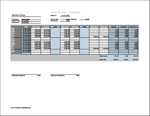 timesheet with lunch