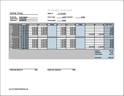Biweekly Timesheet (horizontal orientation) with overtime calculation ...