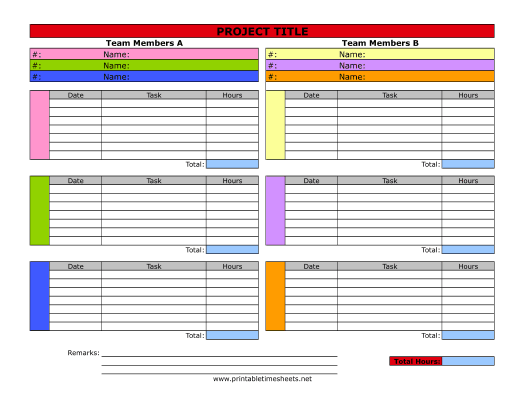 Project Timesheet Printable Time Sheet