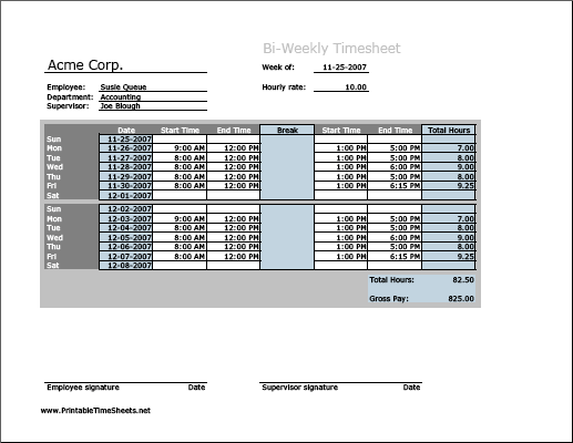 Biweekly Timesheet (horizontal orientation) with breaktime column